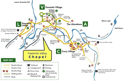 Map of Yosemite Valley showing the Yosemite Valley Chapel